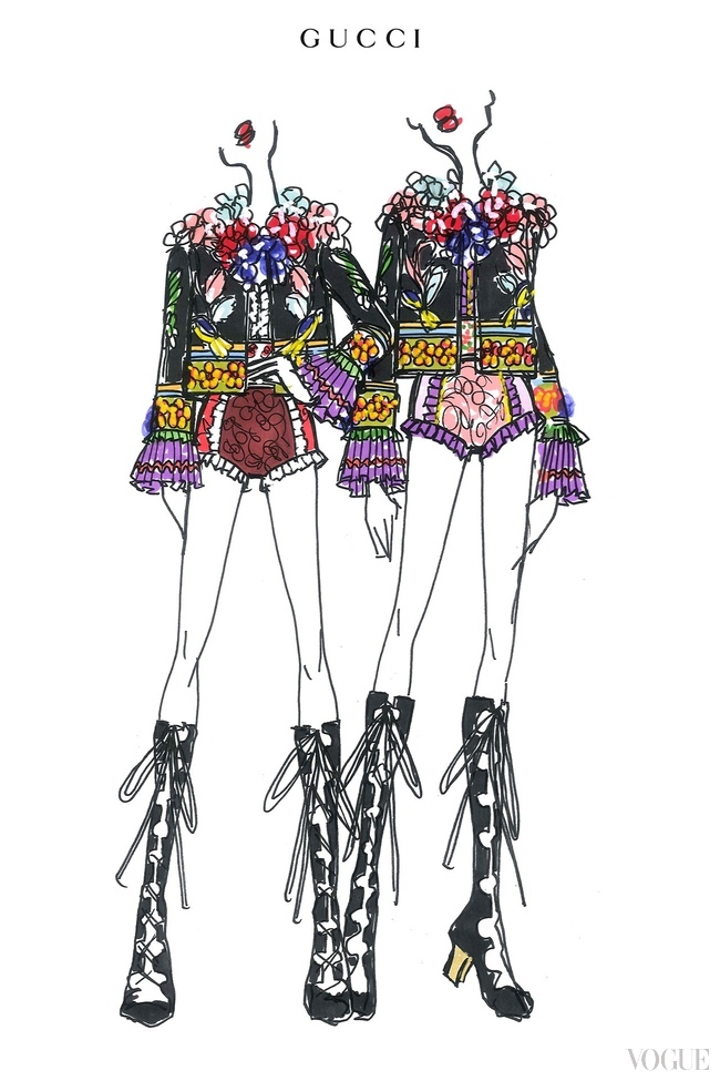 "Another of Alessandro Michele's costume sketches for Madonna's dance troupe in the ""Rebel Heart"" tour"