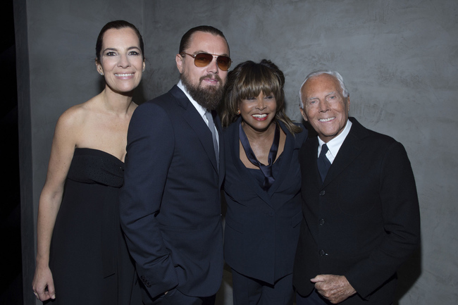 From left: Roberta Armani (Mr Armani's niece), Leonardo DiCaprio, Tina Turner and Giorgio Armani