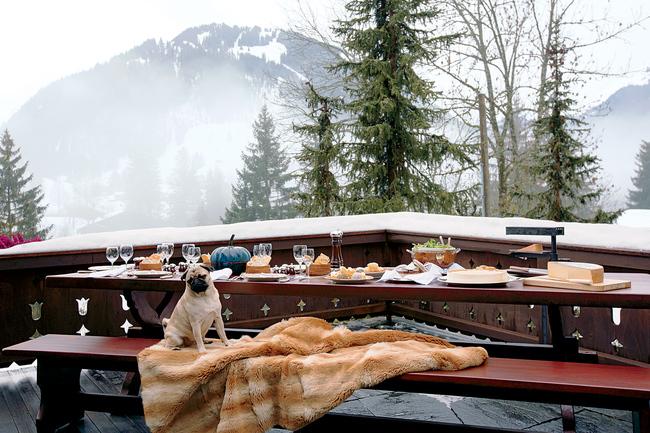 Alfresco lunch on the veranda in Gstaad