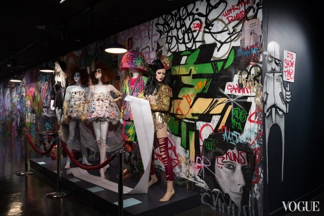 "Installation at the entrance to the exhibition ""Fashion Underground: The World of Susanne Bartsch"" at the FIT, New York"