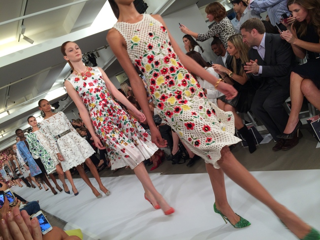 Oscar de la Renta's spring/summer 2015 floral dresses, captured by Suzy Menkes from the front row