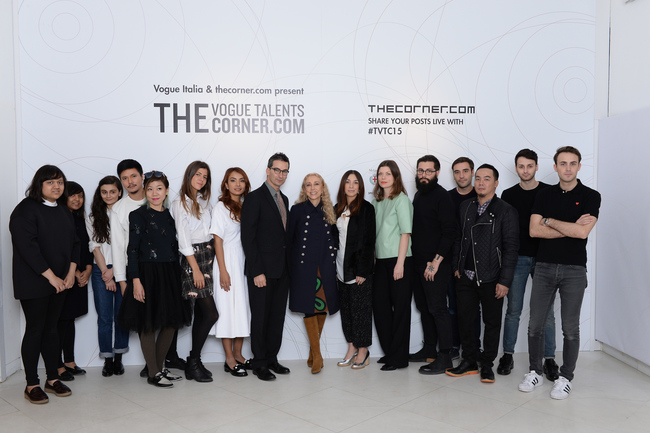 Twelve designers with Jonathan Newhouse and Franca Sozzani at The Vogue Talents Corner.com presentation during Milan Fashion week in February