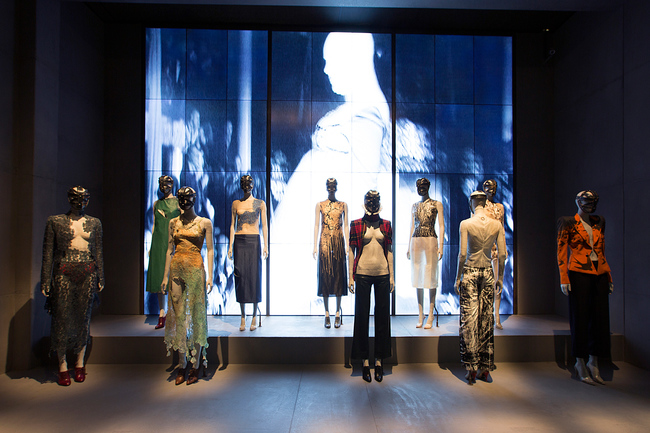 Installation view of London gallery, Alexander McQueen Savage Beauty at the V&A CREDIT Victoria and Albert Museum London