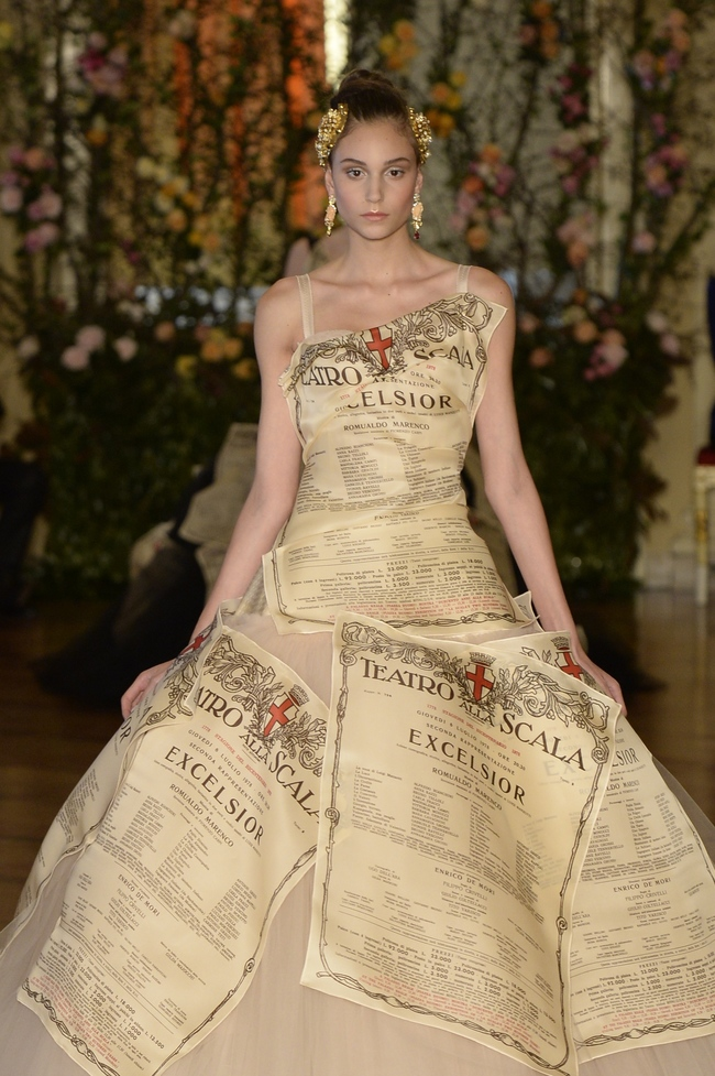 A dress decorated with La Scala's signature posters, Dolce & Gabbana Alta Moda