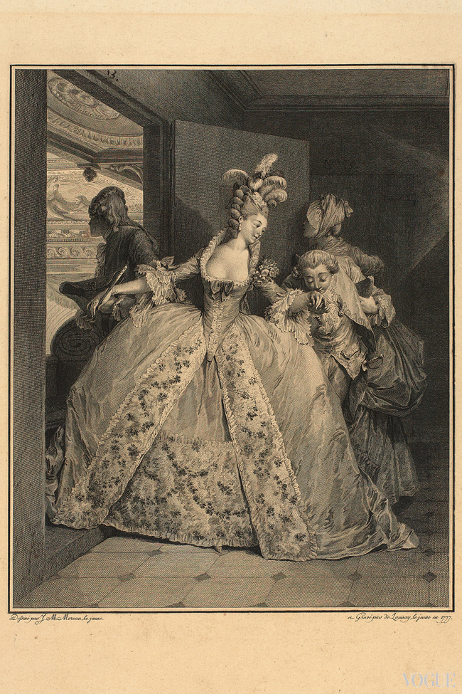 Aristocratic couple at the Op?ra in Paris, 1777. The young woman wears court dress in the Queens Palace    and must pass through the door of the lodge sideways because her dress has very wide paniers. Her high hairdo is decorated with feathers. From a series in which the life of a young lady du bon ton and the French fashion of her time is depicted
