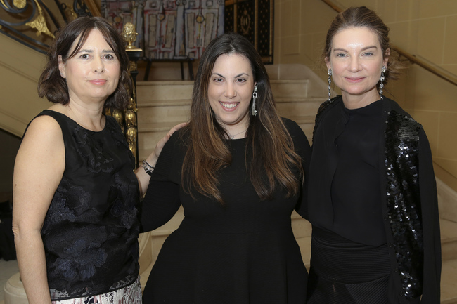 Designer Mary Katrantzou,winner of this year's BFC/Vogue Designer Fashion Fund, flanked by Alexandra Shulman OBE, left, and Natalie Massenet MBE, right, who also serves as Chairman of the British Fashion Council