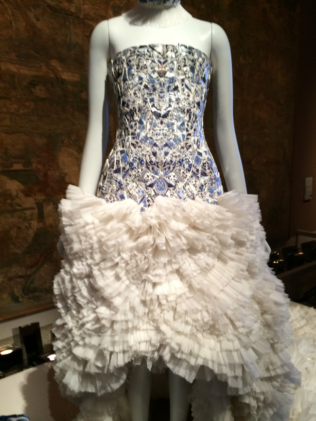 Silk organza Ming-inspired dress, by Sarah Burton for Alexander McQueen A/W 201/12 embroidered with shards of blue and white porcelain
