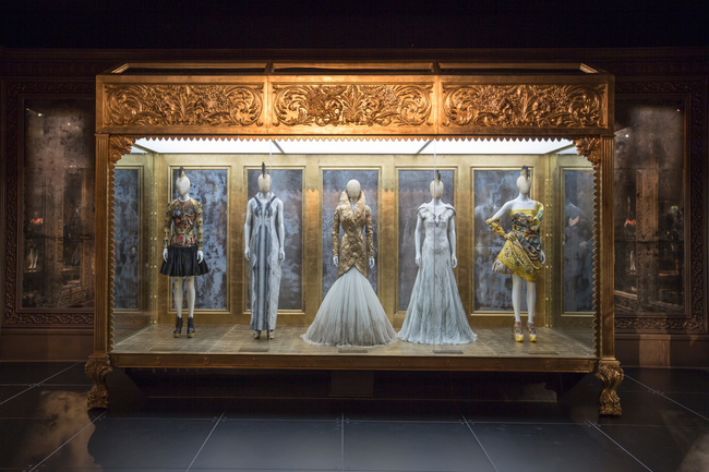 Installation view of Romantic Gothic gallery, Alexander McQueen Savage Beauty at the V&A CREDIT Victoria and Albert Museum London