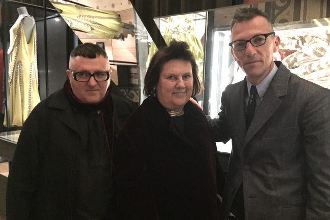 Left to right: Lanvin's creative director Alber Elbaz, Suzy Menkes and the exhibition curator Olivier Saillard