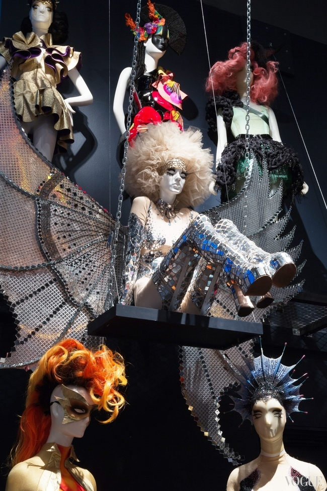 "A mirror ensemble by Mathu Zaldy among classic Bartsch outfits at the exhibition, ""Fashion Underground: The World of Susanne Bartsch"" at the FIT, New York."