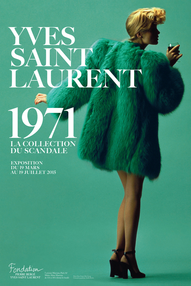 Exhibition poster with YLS's green fox coat worn by Willy Van Rooy, Couture collection spring-summer 1971