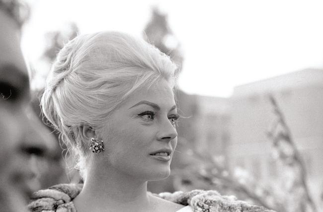 Anita Ekberg wearing Bulgari for a press conference for the film Boccaccio '70, 1961