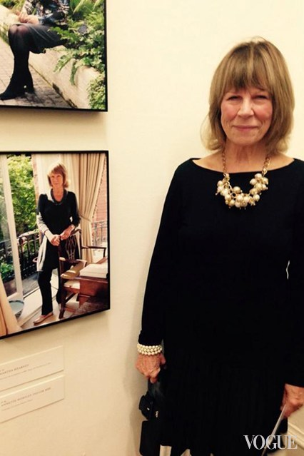 Annette Worsley-Taylor MBE, originator of London Fashion Week, with her @100ladyleaders portrait at Somerset House, October 2014