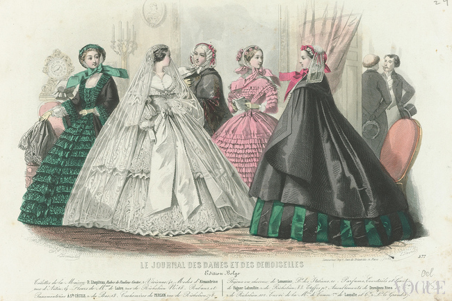 Five women, one of them in a wedding dress. In the background are two men in conversation from Le Journal des Dames and Demoiselles, October 1859
