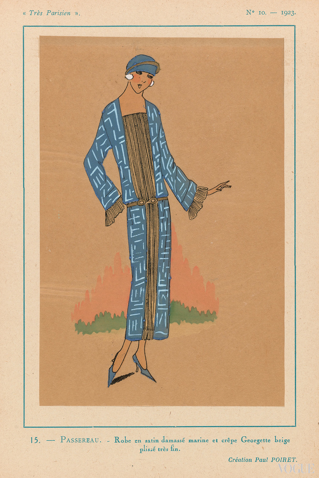 Navy blue damass? satin dress with finely pleated beige cr?pe georgette designed by Paul Poiret from Tr?s Parisien, 1923. Brush in gold gouache and stencil printing hand coloured and zincography