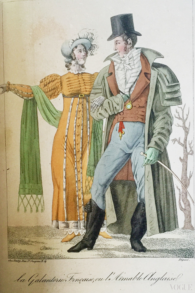French Courtesy or The Charming Englishwoman  (1810-12) Hand coloured engraving