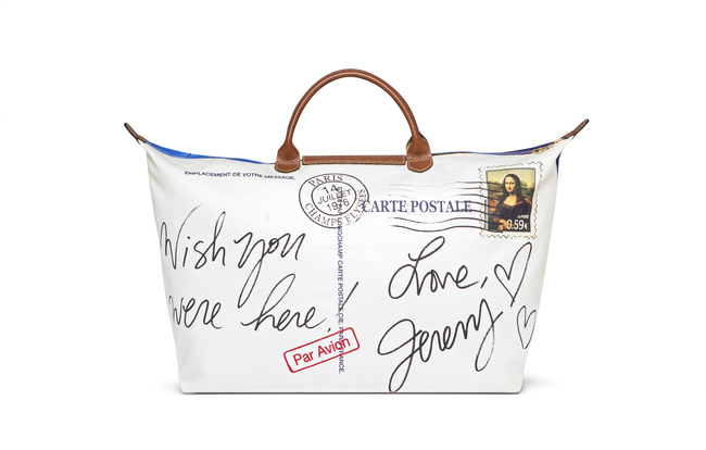 Jeremy Scott's limited-edition Paris Postcard bag, made especially for the Champs-Elys?es opening