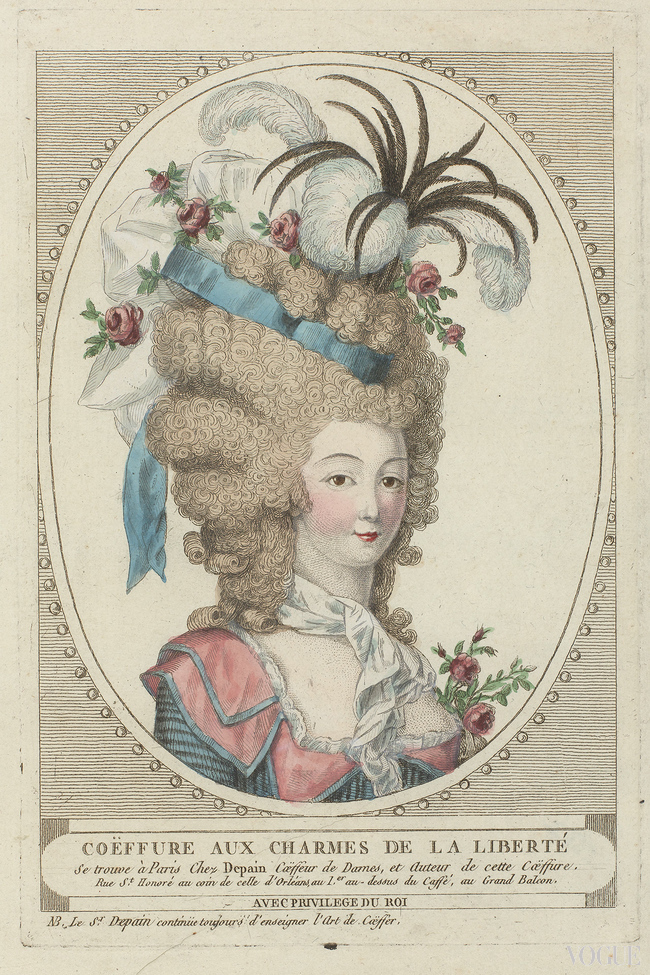 Woman with frizzy hair clipped up high where a cap sits with ribbons, roses and various types of springs by French hairdresser Depain. The bodice has a low neckline, a double collar and a scarf round the neck. Part of the series, Coiffures de Depain, 1790. Troisi?me suite de la p?riode r?volutionnaire. Etching, engraving (printing process) hand colours