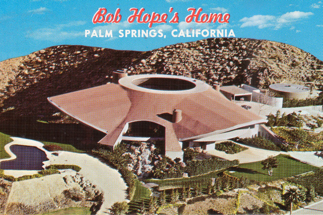 A postcard depicting the Palm Springs mansion used as the show space