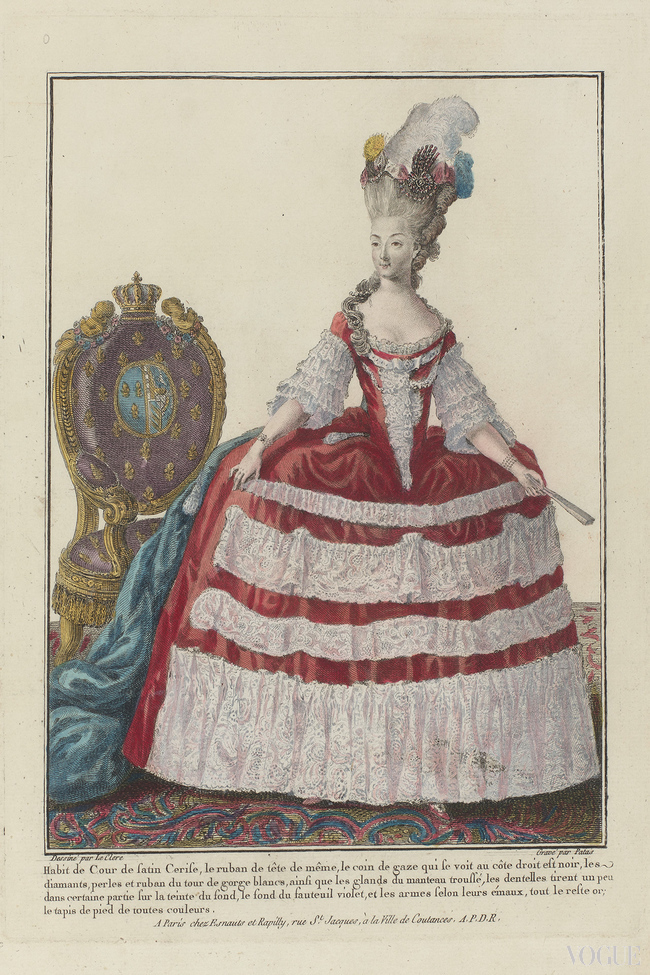 Marie Antoinette in court dress of cherry silk with a pointed bodice, a skirt with wrinkled strips of lace a long trainand decorated with diamonds, pearls feathers and ribbon. She has bracelets on her wrists and in her left hand a closed folding fan. The armchair has a coat of arms and crown on the back. Engraving by Patas, Charles Emmanuel Le Clerc, Pierre Thomas Esnauts & Rapilly