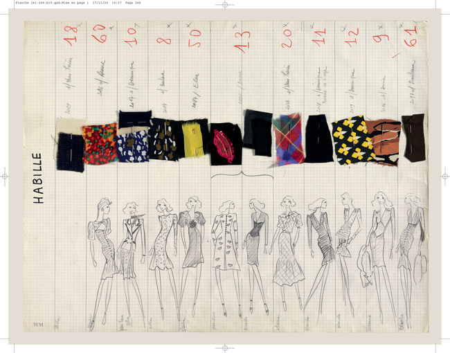Yves Saint Laurent – Collection board of the Spring-summer 1971 haute couture 'Scandal'collection